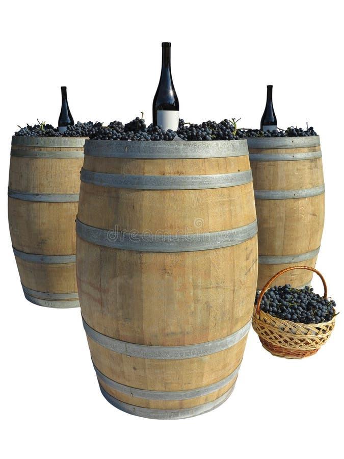 Hölzernes Fass mit den Trauben und Weinflaschen lokalisiert über Weiß stockfotos