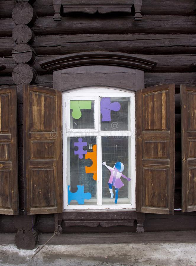 Hölzernes Fenster der Weinlese stockbild