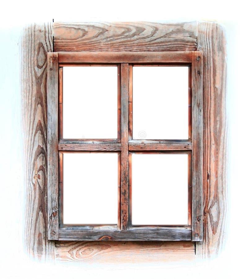 Hölzernes Fensterfeld getrennt auf Weiß. lizenzfreie stockfotos