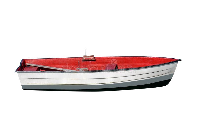 Hölzernes Fischerboot lokalisiert auf weißem Hintergrund lizenzfreies stockbild