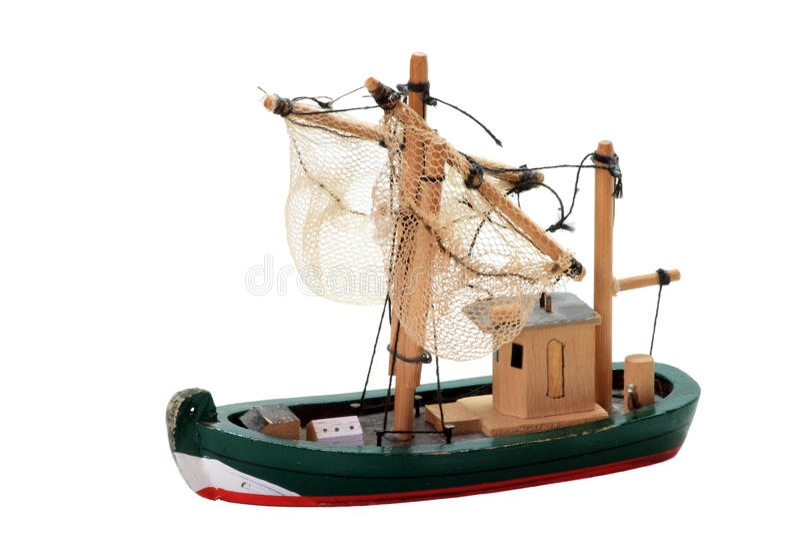 Hölzernes Fischerboot-Spielzeug lizenzfreies stockfoto