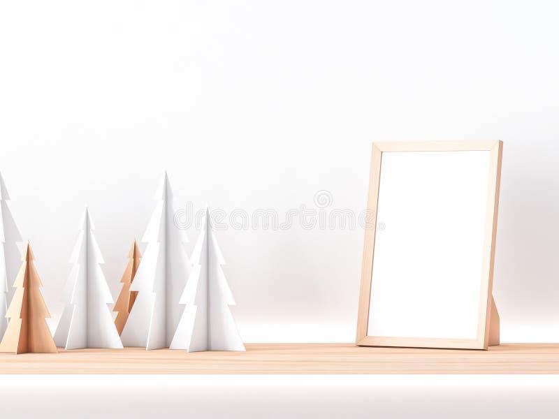 Hölzernes Fotorahmen Modell auf Regal mit Papierweihnachtsbäumen vektor abbildung