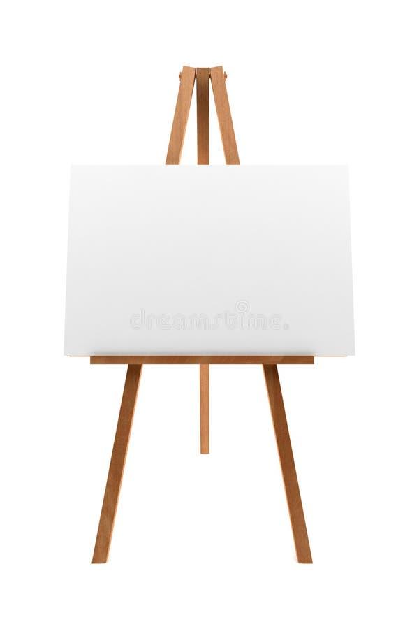 Hölzernes Gestell mit dem unbelegten Segeltuch getrennt auf Weiß stockfoto