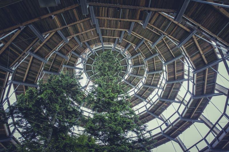 Hölzernes gewundenes Hauben-Gebäude Browns mit grünem Baum lizenzfreie stockbilder