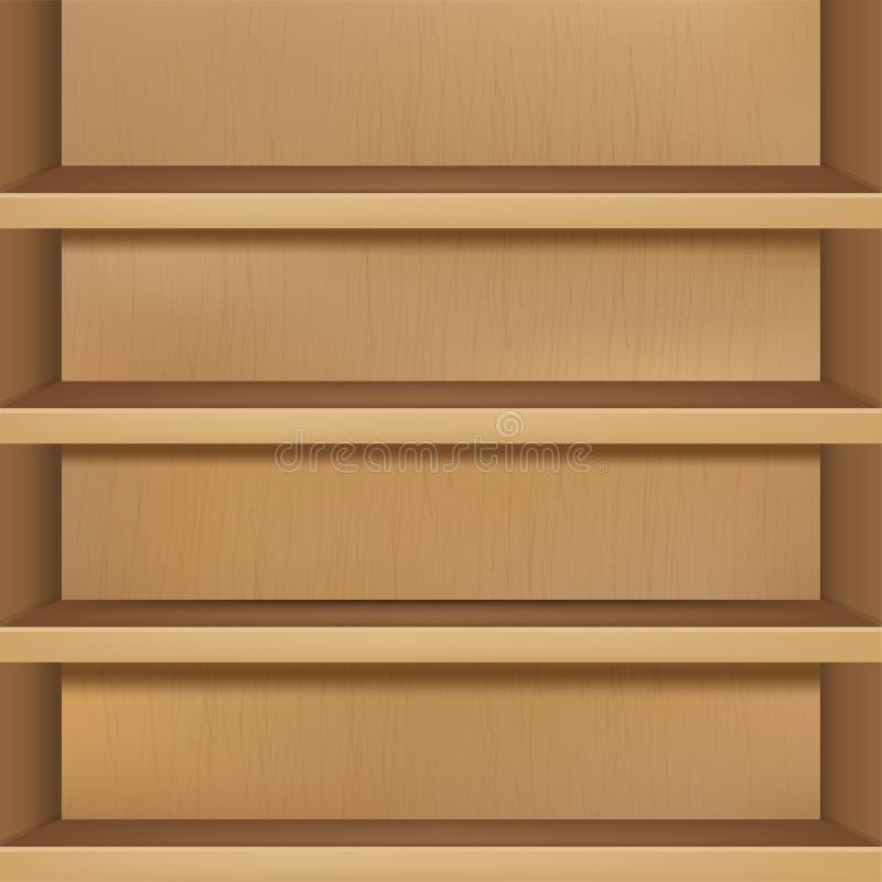 Hölzernes leeres Bücherregal stock abbildung