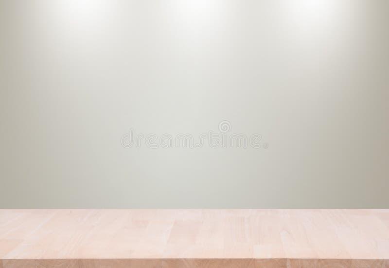 Hölzernes leeres materielles hölzernes, Plattform, Tabelle mit grauem Wand backgroun lizenzfreie stockfotos