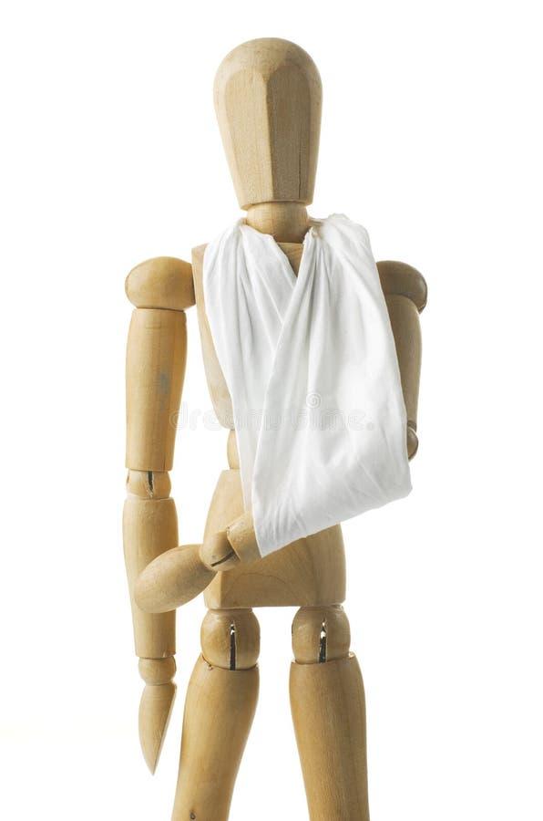 Hölzernes Mannequin mit dem Handbruch lizenzfreies stockfoto