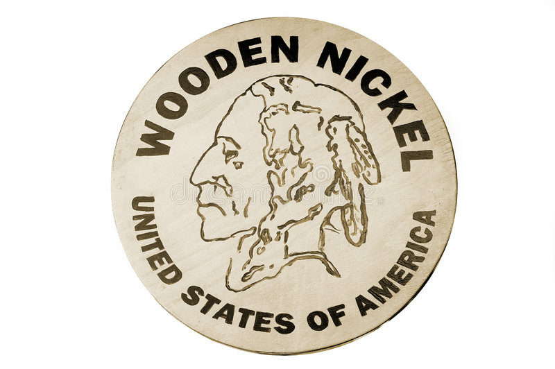 Hölzernes Nickel stockfoto