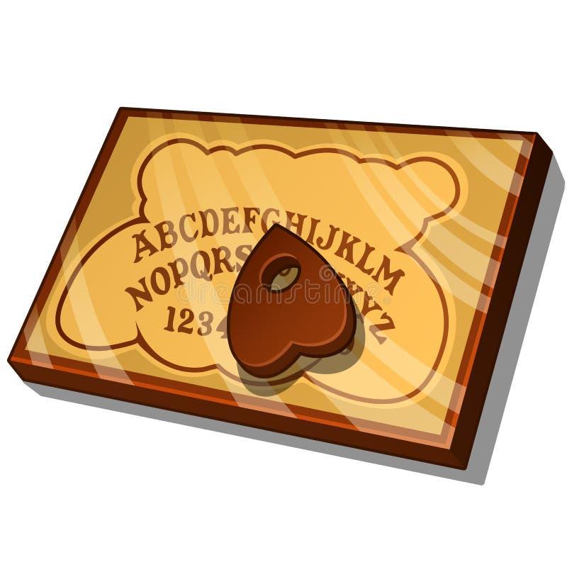 Hölzernes Ouija-Brett mit englischen Buchstaben Vector die Illustration in der Karikaturart lokalisiert auf Weiß lizenzfreie abbildung