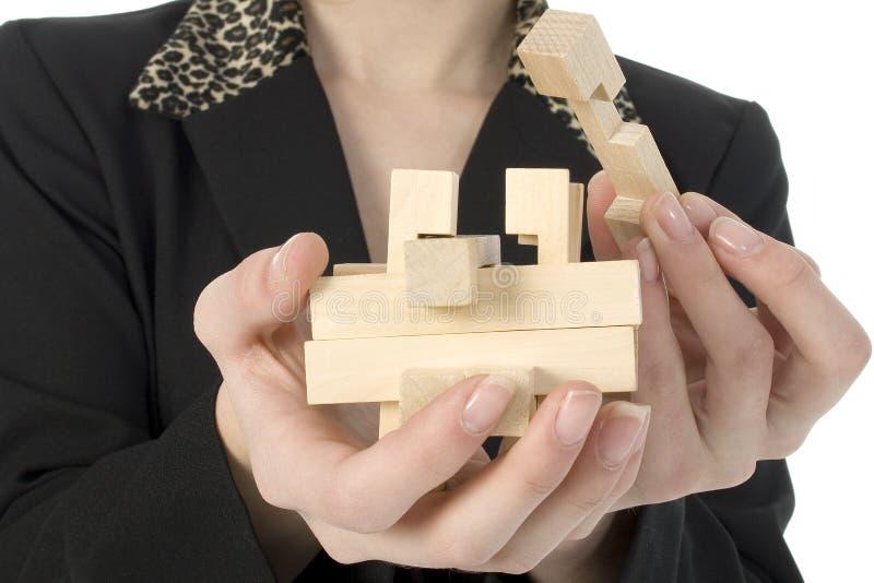 Hölzernes Puzzlespiel lizenzfreies stockbild