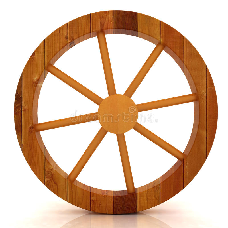 Hölzernes Rad auf einem Weiß vektor abbildung