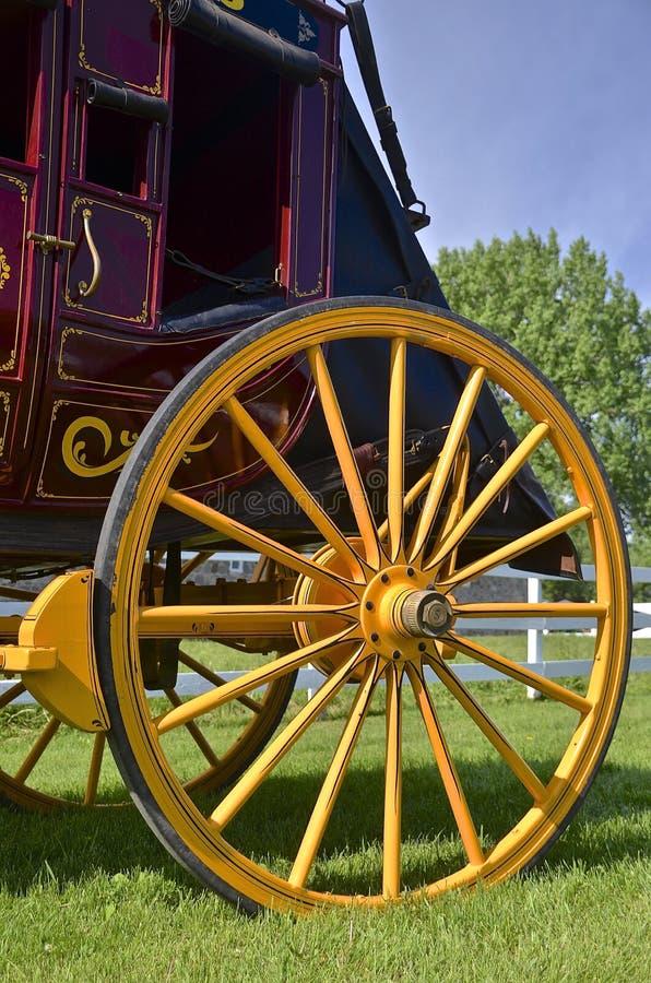Hölzernes Rad eines Stagecoach stockfotografie