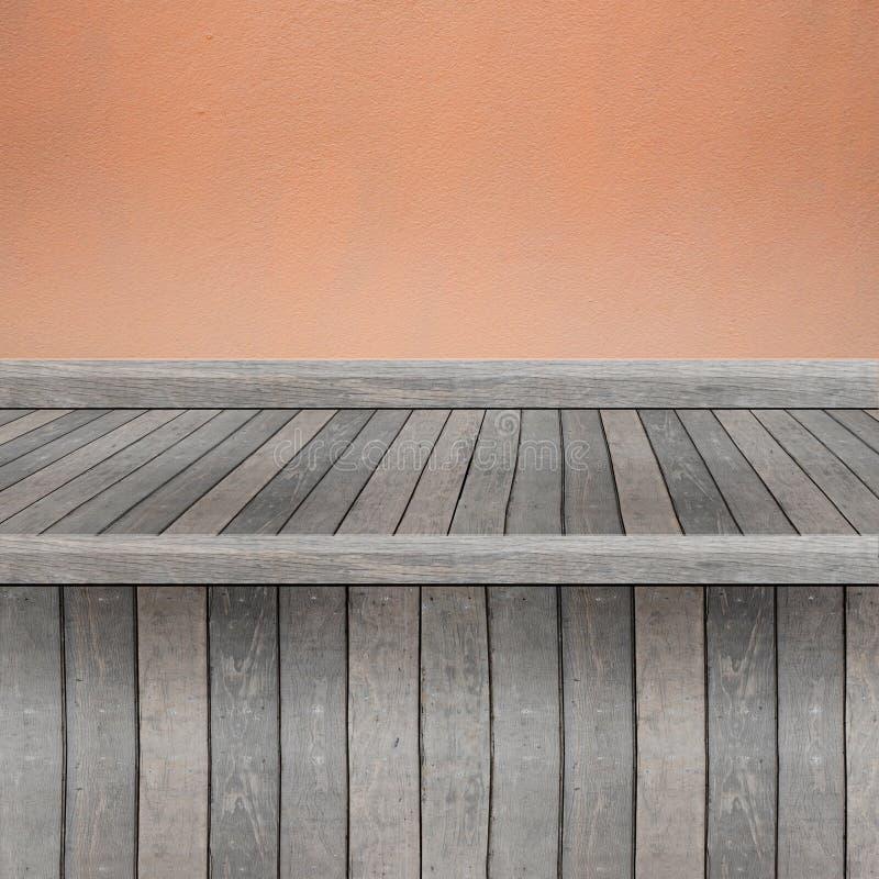 Hölzernes Regal für Hintergrund Hintergrund für Produktanzeigenkonzept stockfotos
