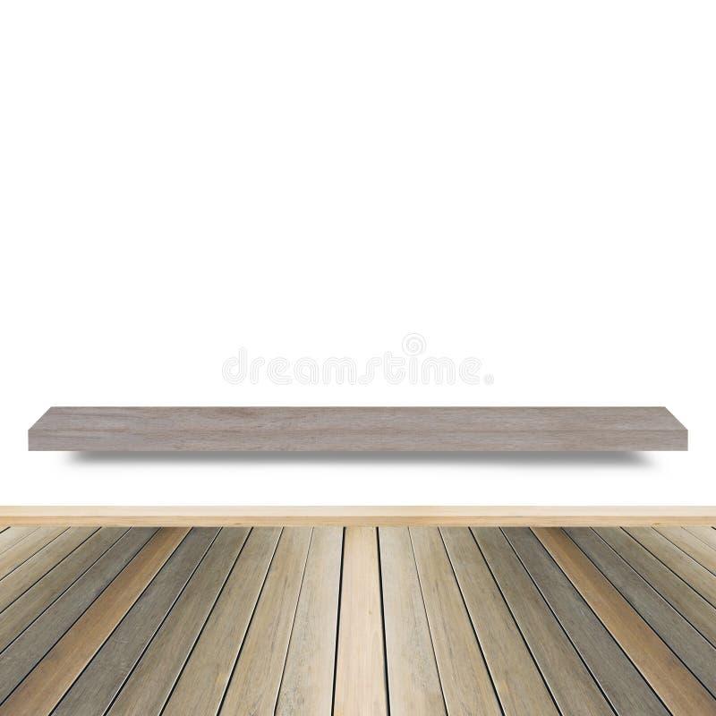 Hölzernes Regal für Hintergrund Hintergrund für Produktanzeigenkonzept stockbilder