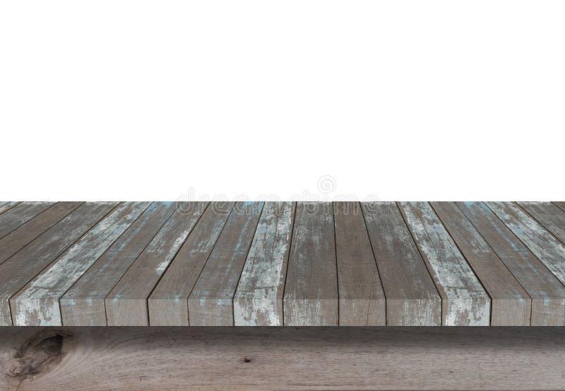 Hölzernes Regal für Hintergrund Hintergrund für Produktanzeigenkonzept stockfotografie