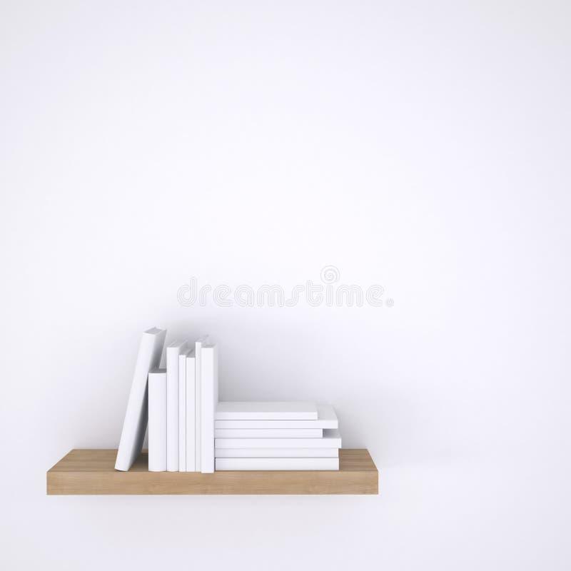 Hölzernes Regal mit Büchern auf weißem Wandhintergrund lizenzfreie stockbilder