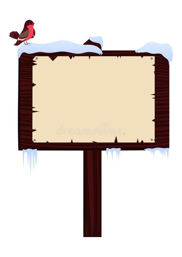 Hölzernes Schild des Winters mit Rotkehlchen auf ihm vektor abbildung