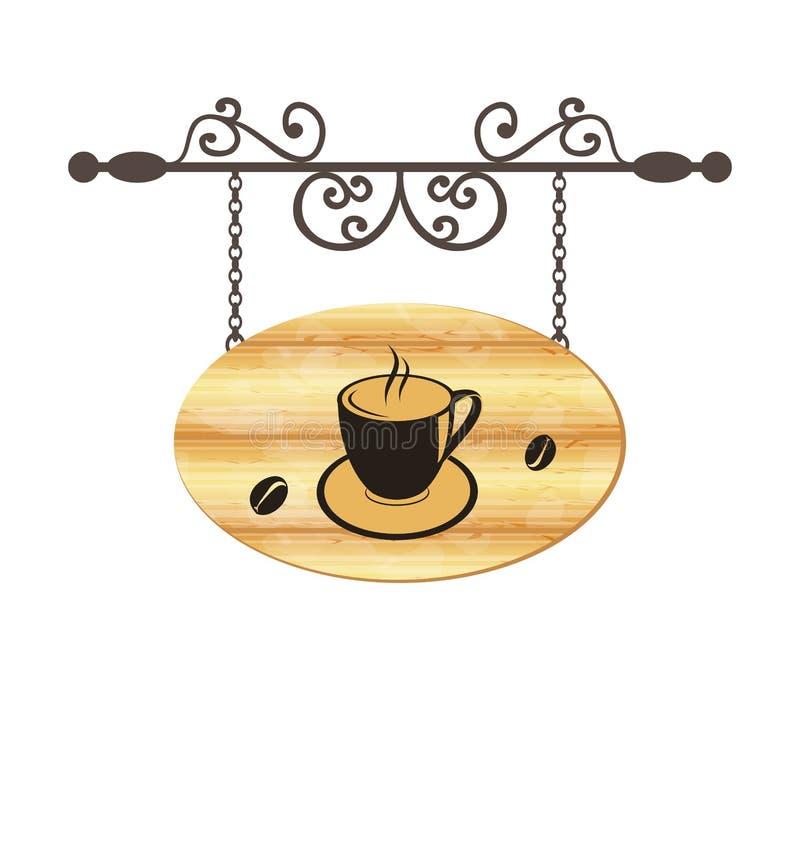Hölzernes Schmiedenzeichen mit Kaffeetasse stock abbildung
