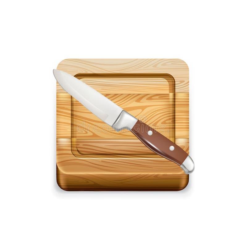 Hölzernes Schneidebrett der Küche mit Messer lizenzfreie abbildung