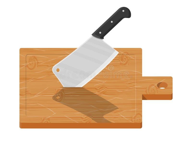 Hölzernes Schneidebrett- und Küchenmesser stock abbildung