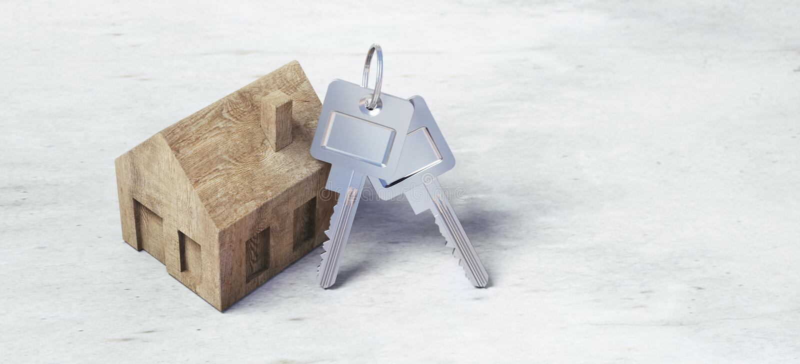 Hölzernes Spielzeughaus mit silbernen Schlüsseln vektor abbildung