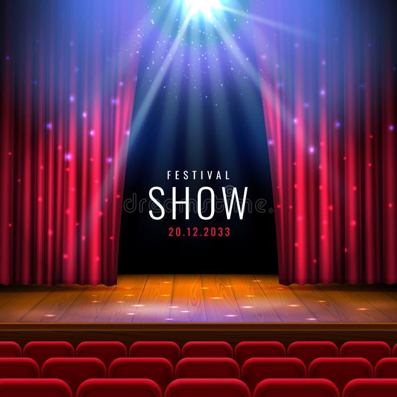Hölzernes Stadium des Theaters mit rotem Vorhang, Scheinwerfer, Sitze Festliche Schablone des Vektors mit Lichtern und Szene Plak lizenzfreie abbildung
