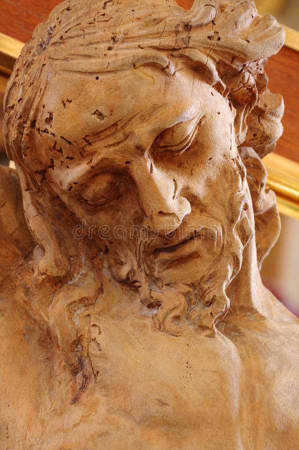 Hölzernes Statuendetail Christus stockbilder