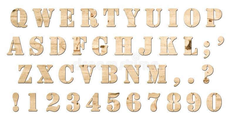 Hölzernes Tastaturalphabet getrennt vektor abbildung