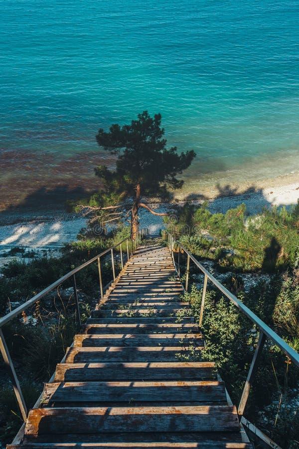 Hölzernes Treppenhaus, das zu Seeküste, im Morgen-Sonnenaufgang-Reiseziel-Ferien-Konzept führt stockfotos