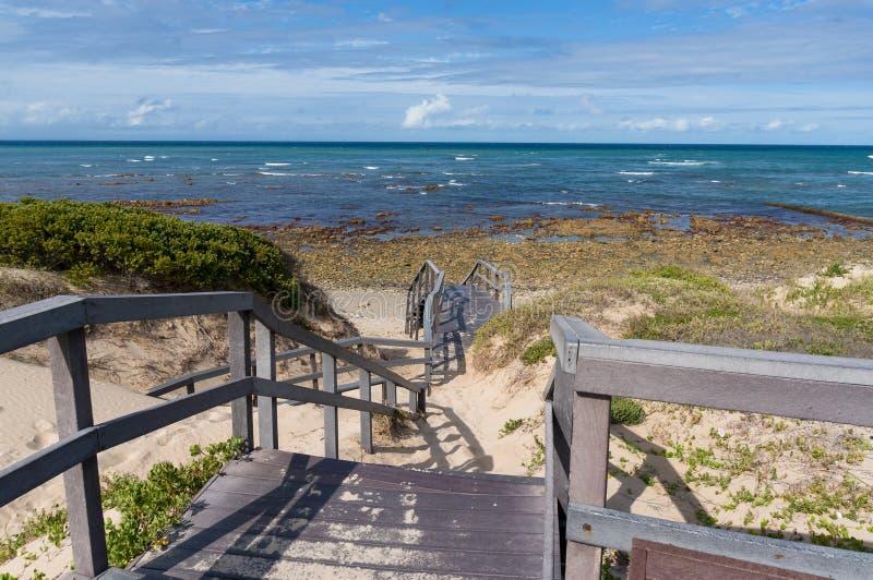 Hölzernes Treppenhaus zum sandigen Strand in Port Elizabeth, Südafrika stockbilder