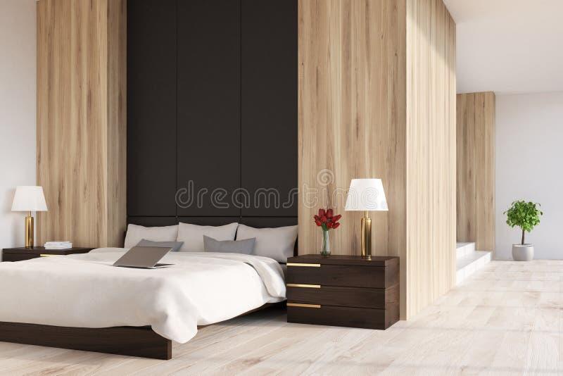Hölzernes und schwarzes Schlafzimmer, panoramisch, Seite vektor abbildung