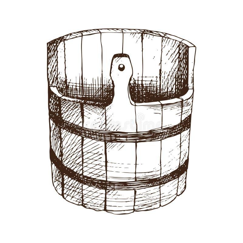 Hölzernes Wasserfaß, Becken für russisches Bad für Körperhygiene Satz Zubehör für Bad, Sauna Handzeichnung in der Skizze stock abbildung