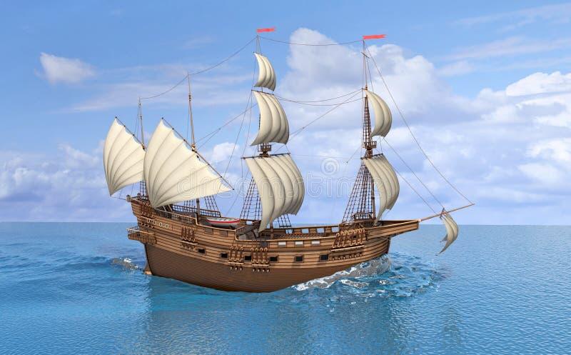 Hölzernes Weinlesesegelschiff im Meer stockfotografie
