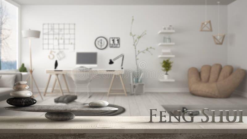 Hölzernes Weinlesetabellenregal mit Steinbalance und Buchstaben 3d, die das Wort feng shui über modernem Haupteckbüro, Zenkonzept stockfoto