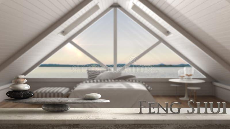 Hölzernes Weinlesetabellenregal mit Steinbalance und Buchstaben 3d, die das Wort feng shui über skandinavischem Dachboden, Schlaf stockfoto