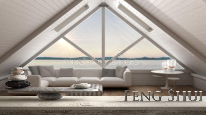 Hölzernes Weinlesetabellenregal mit Steinbalance und Buchstaben 3d, die das Wort feng shui über skandinavischem Dachboden, Wohnzi lizenzfreie stockfotos