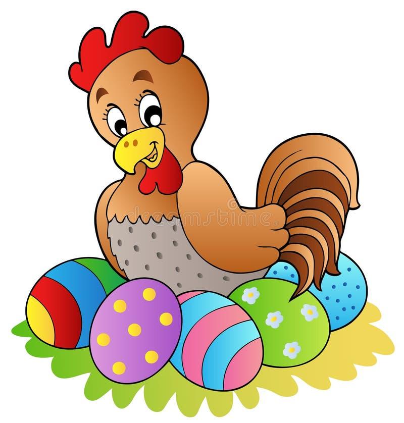 höna för tecknad filmeaster ägg