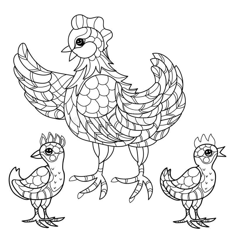 höna Hand dragit dekorativt lantgårddjur stock illustrationer
