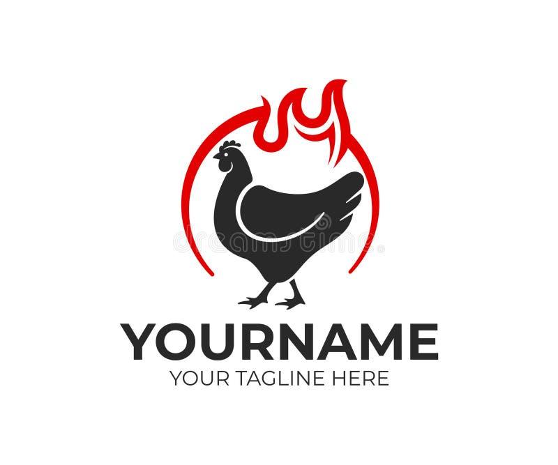 Höna i cirkel och flamma av brand, logodesign Mat, mål och äta, eatery och restaurang, vektordesign stock illustrationer