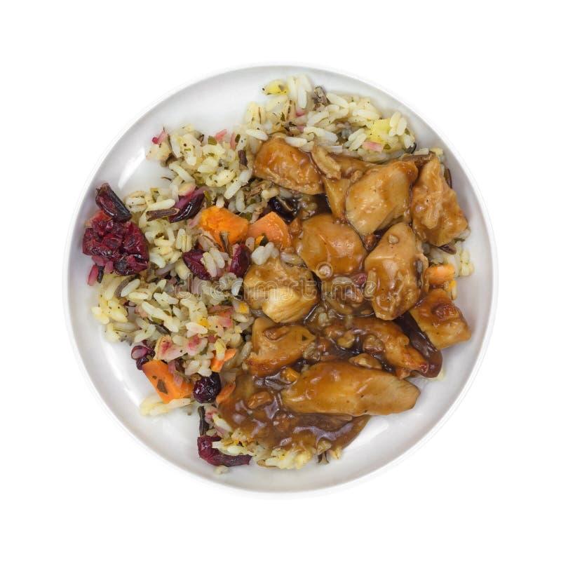 Höna i pecannötsås med ris fotografering för bildbyråer