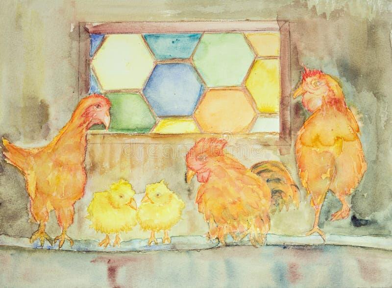 Höna med behandla som ett barn höna i deras hus stock illustrationer
