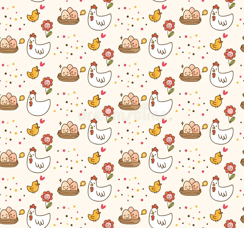 Höna- och äggkawaiibakgrund stock illustrationer