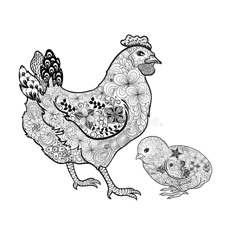 Höna- och fågelungeklotter vektor illustrationer