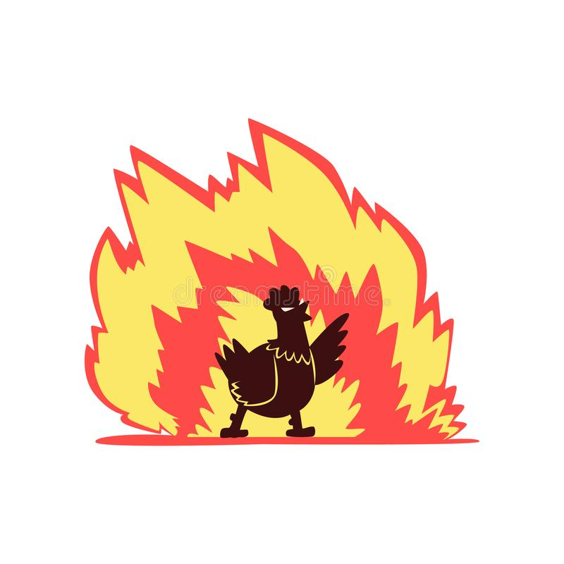 Höna på brand, varmt kryddigt höns, idérik illustration för vektor för logodesignbeståndsdel stock illustrationer