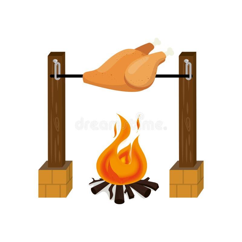 höna stekt picknicksymbol stock illustrationer