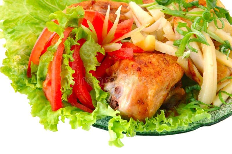 höna stekt potatis royaltyfri foto