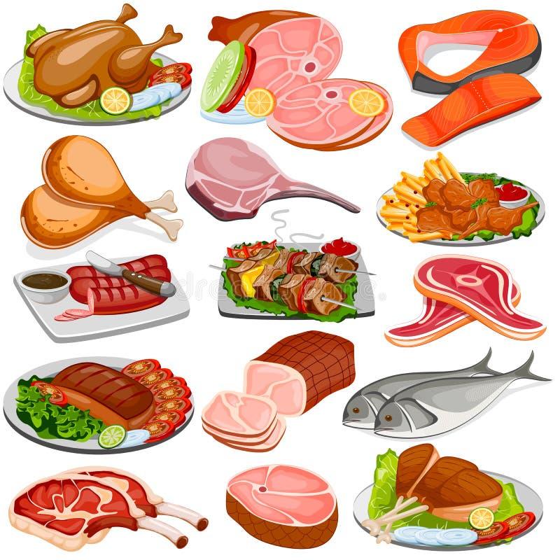 Höns- och köttproduktmatsamling vektor illustrationer