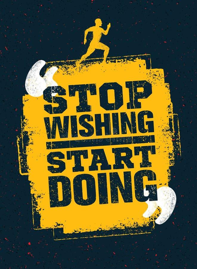 Hören Sie auf, das Anfangshandeln zu wünschen Sport-laufende Typografie-Trainings-Motivations-Zitat-Fahne Starkes Vektor-Training vektor abbildung