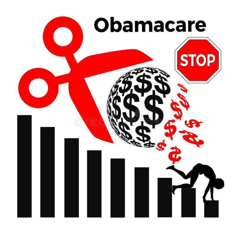 Hören Sie auf, Finanzierung für Obamacare abzuschneiden stock abbildung
