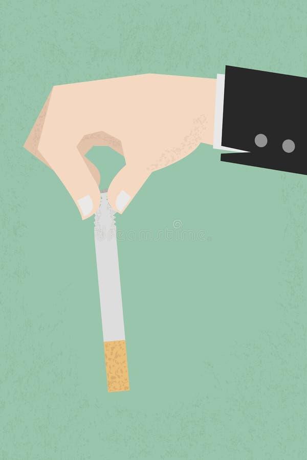 Hören Sie auf zu rauchen, die menschlichen Hände, welche die Zigarette brechen lizenzfreie abbildung